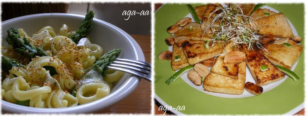 makaron ze szparagami i tofu