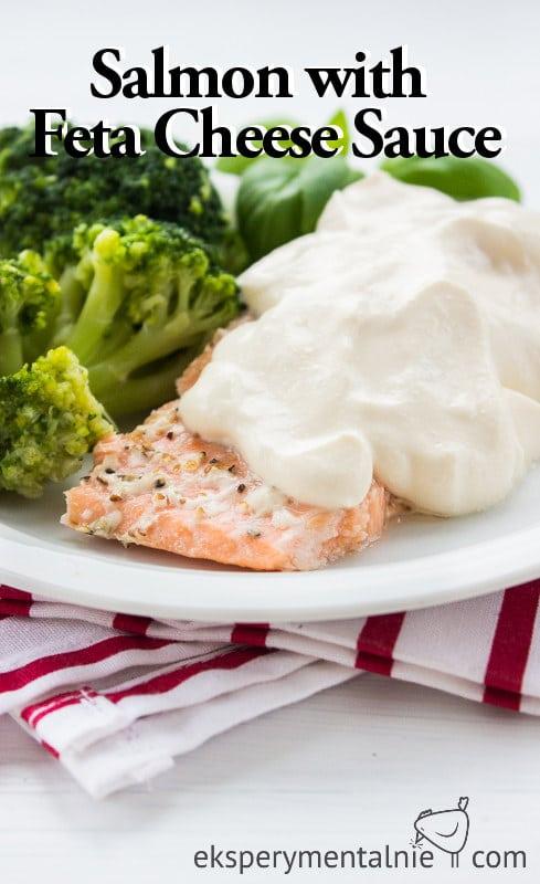 salmon withe feta cheese sauce