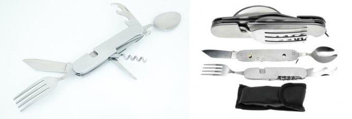 jedzenie w podróży - nóż i widelec w jednym