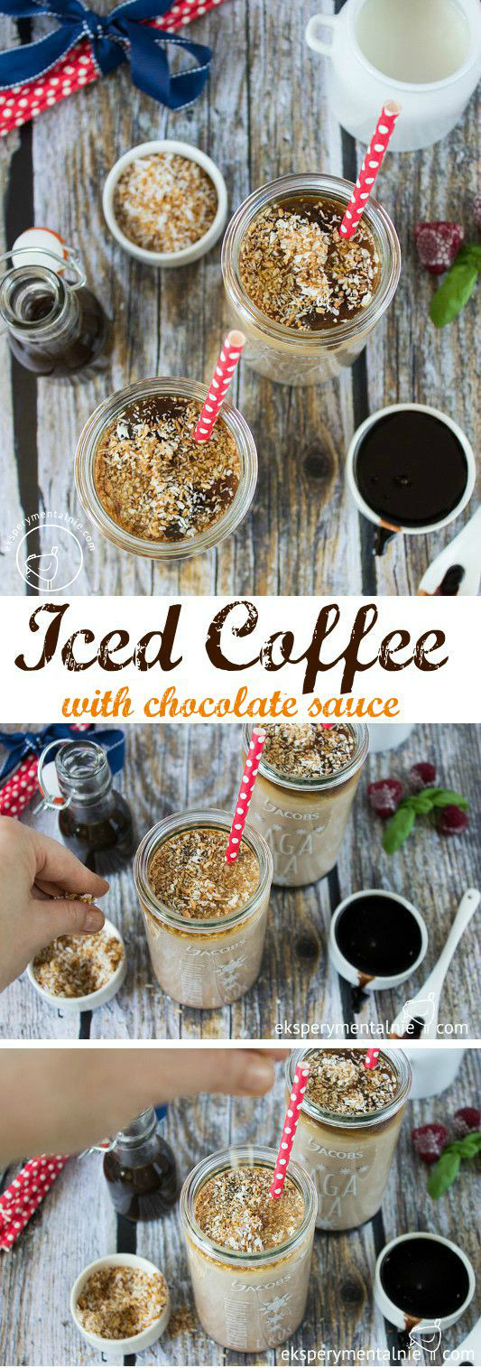 iced coffee with chocolate sauce