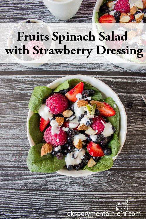 fruits spinach salad with strawberry dressing