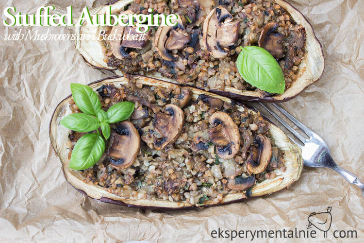 stuffed aubergine with Mushrooms and Buckwheat