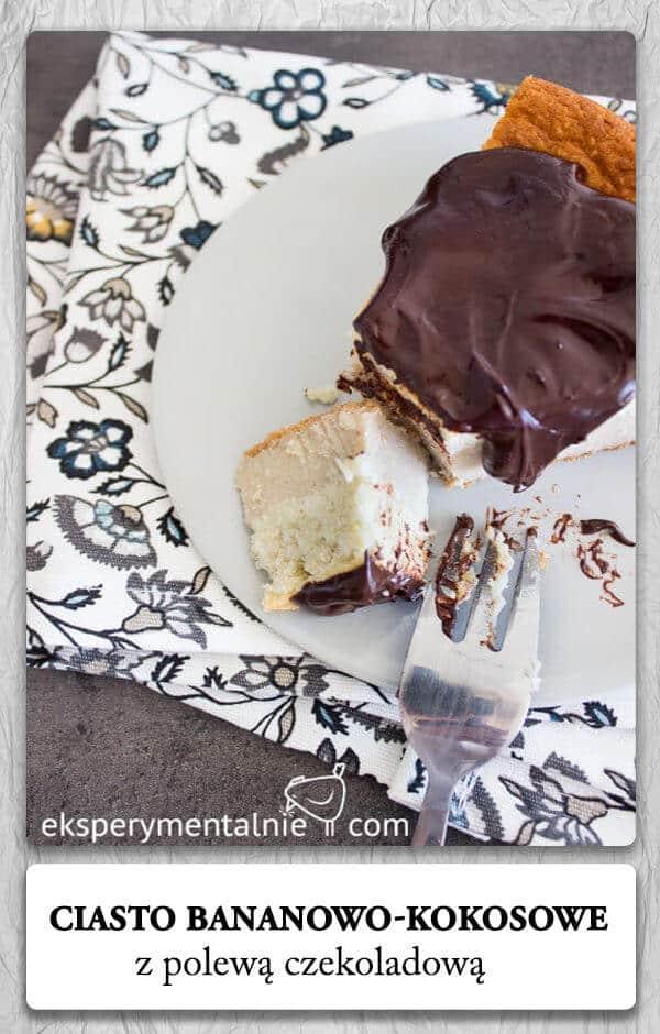 jaglane ciasto bananowo-kokosowe z polewą czekoladową