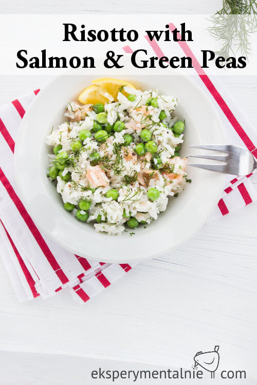Risotto with salmon and green peas