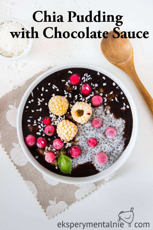 chia pudding with chocolate sauce
