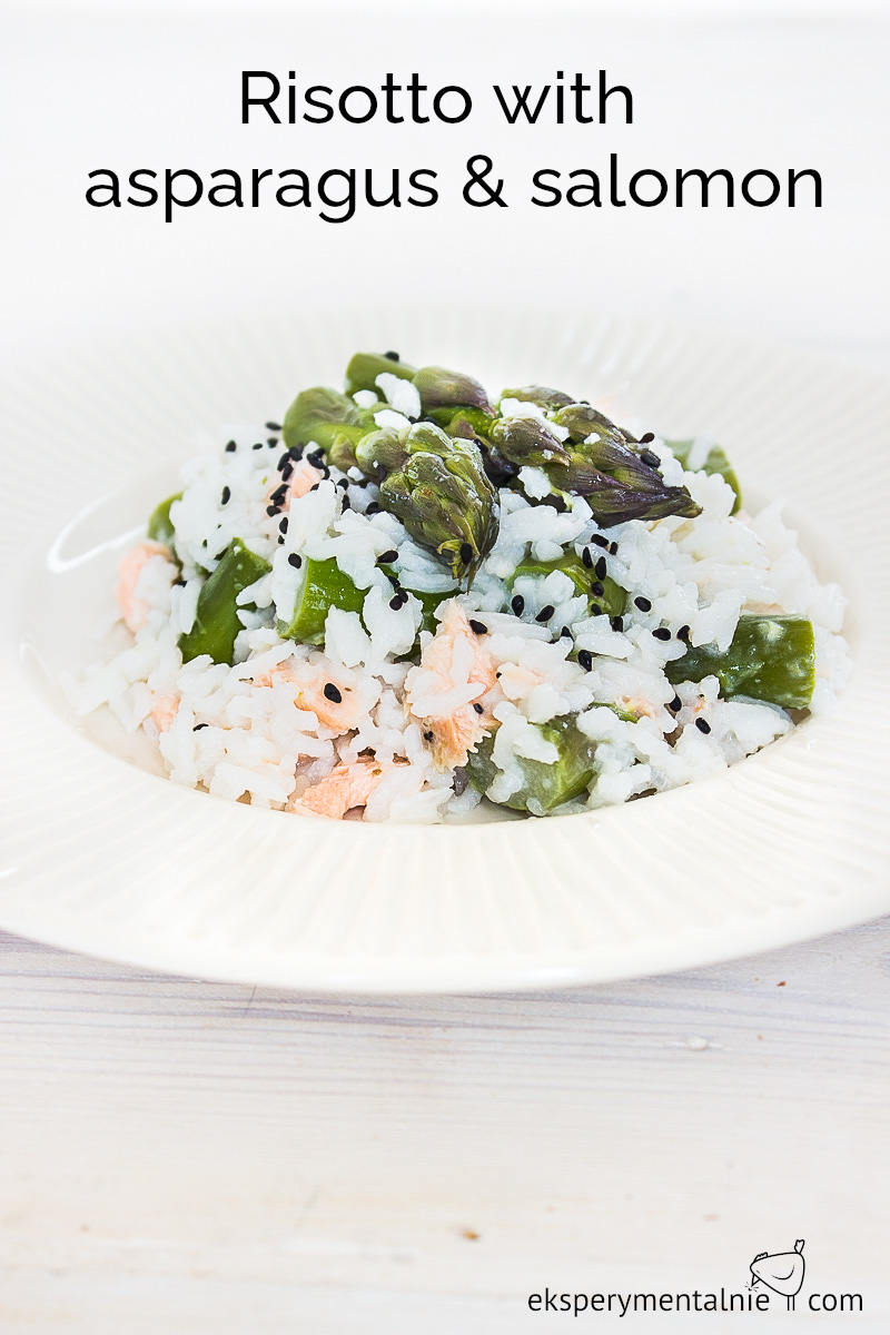 Risotto with asparagus and salomon